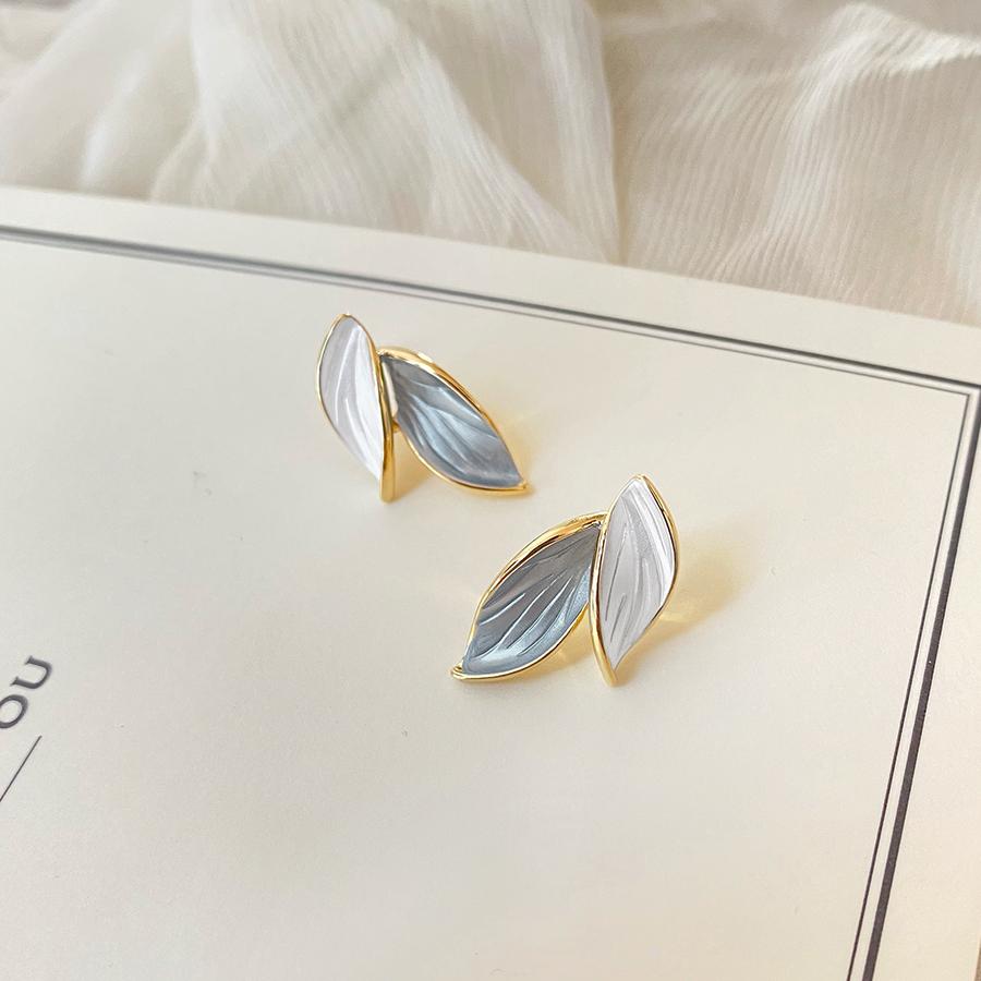 Sept miles une touche de bleu 925 argent aiguille boucles doreilles nouveau ins marée feuilles design original mode plaqué or boucles doreilles oreille clip