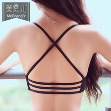 Sexy cross belt, front back button, thin underwear, women's small chest, thicker, no steel ring bra set.