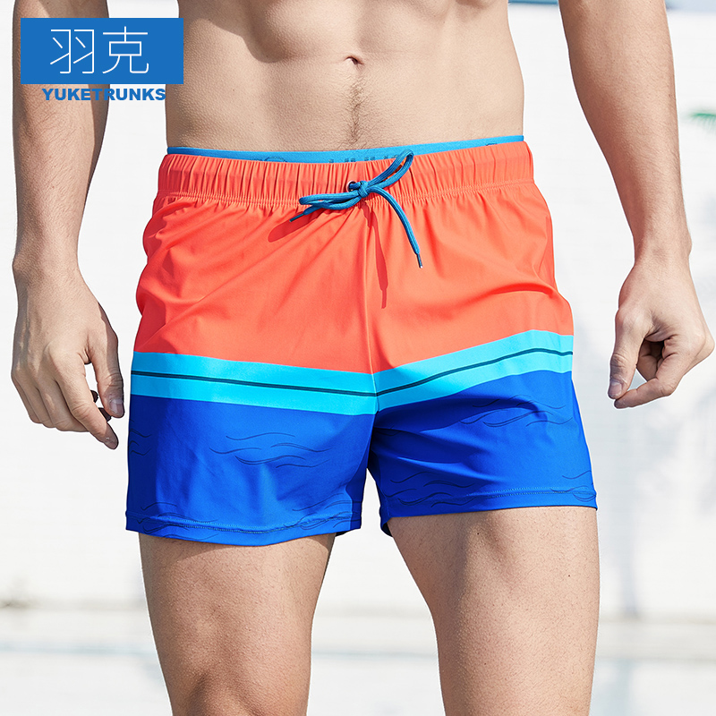 Swimming trunks for men's embarrassment prevention men's flat corner large loose quick drying swimming shorts for hot spring double layer bathing suit and beach pants
