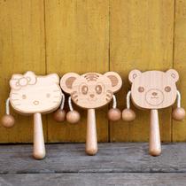 Hochet en bois peut mordre bébé jouets éducatifs 6-9-12 mois garçons et filles 1 an Bébé En bois tambour