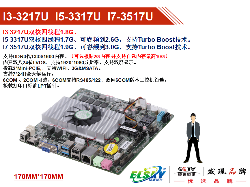 ELSKY I3HGP Yan Sheng I3-3217U 3227u ultra-thin industrial digital signage advertising one machine motherboard