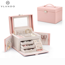 Weilanduo jewelry box Small exquisite hand jewelry ring earrings necklace Large capacity storage box European high-end luxury