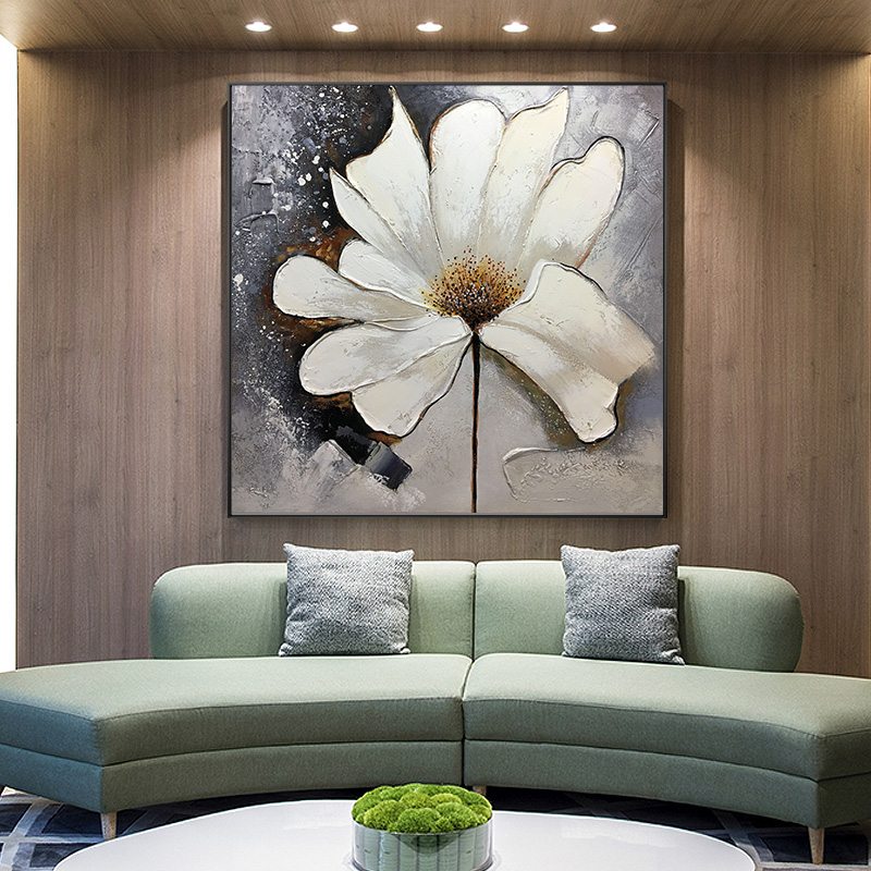 Nordic modern abstract hand-painted flower large oil painting model room sofa background wall hanging painting bedroom decoration