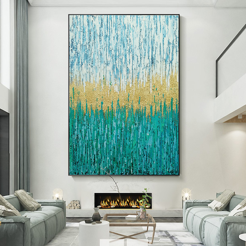 Hand-painted Oil Painting, Nordic Style, Abstract Decorative Painting, Modern Simple, Light and Luxurious Hanging Painting, Compound Building Gold Foil Art Fresco
