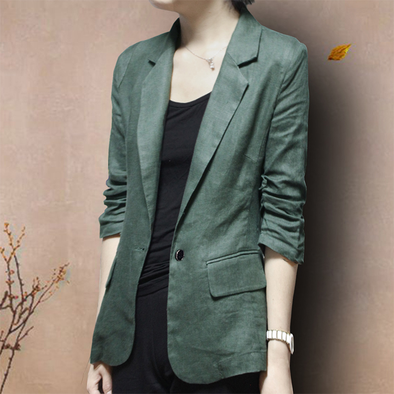 Cotton linen small blazer Korean version of the new thin slim linen suit three-point sleeves women large size casual spring and autumn