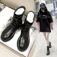 ANN Nethong Black Boots Children 2019 New Type Locomotive Boots Flat Bottom Lace Thick-heeled Shoes Martin Boots