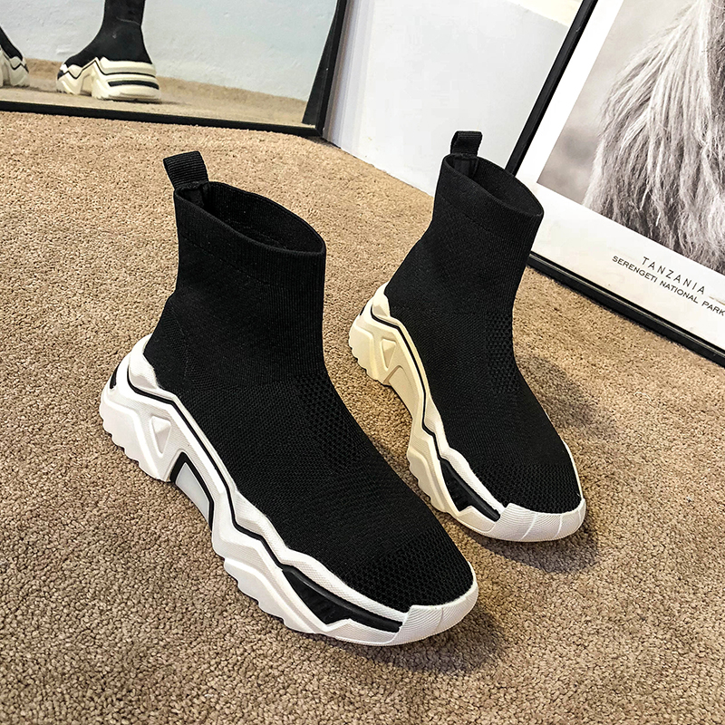 Stretch high-top socks shoes women ins tide 2020 autumn new wild European station knitted old sports boots