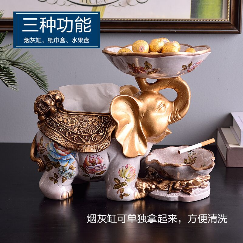 European fruit tray three sets of high-end living room auspicious elephant decorative display ashtray paper towel box fruit tray