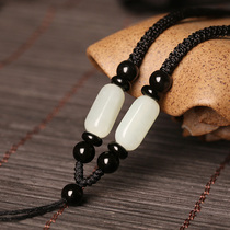 Hetian jade pendant pendant jade pendant rope jade-pei pendant rope jade jade jade Buddha sling male and female necklace rope