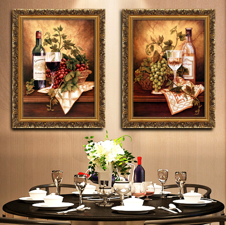 Dining room decoration hanging painting triple kitchen dining room fresco with frame painting European fresco high-definition still life grape fruit