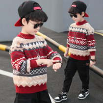 Boys sweater sleeve 2020 new spring and autumn childrens foreign air plus velvet thickened knit sweater autumn and Winter Tide