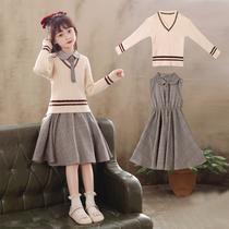 Girls dress 2020 autumn dress new Chinese Childrens College wind princess dress winter childrens fashionable little girl suit