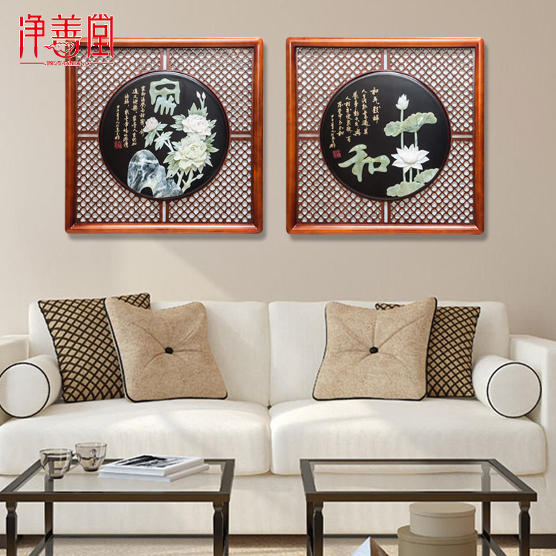 Jade carving hangings Dongyang wood carving living room decoration porch background wall decoration Chinese carved jade crafts