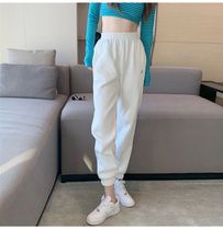 Korean autumn and winter clothing 2021 new white sweatpants Womens Small 150 loose bunches feet tide ins pants plus Velvet
