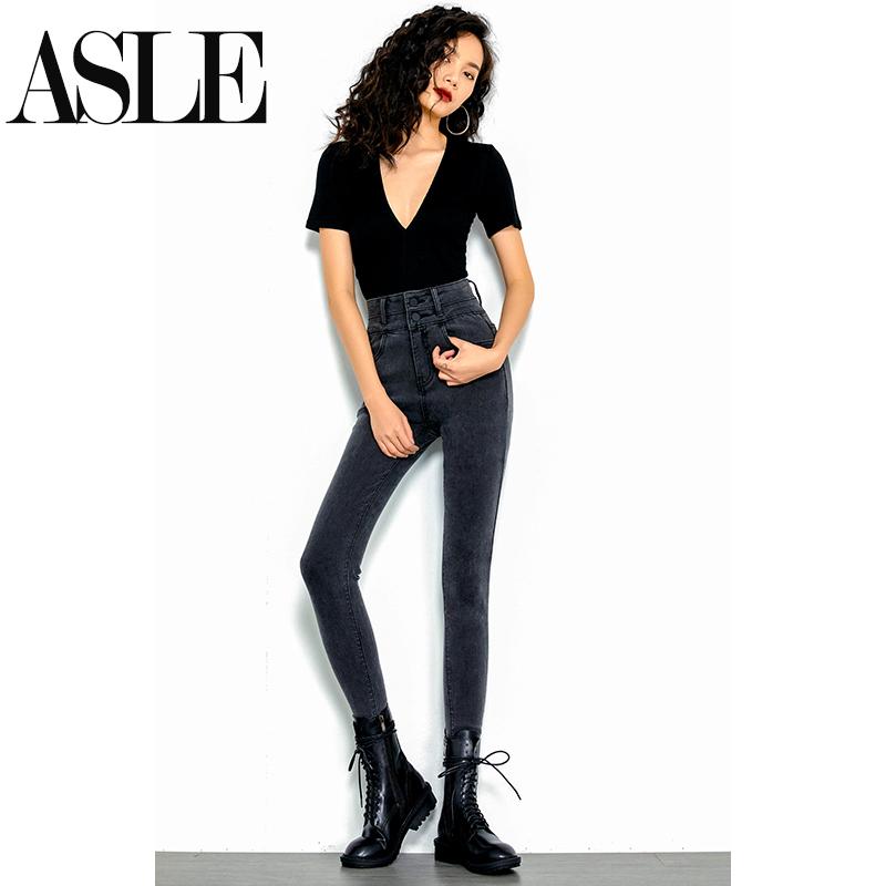 Grey high-waisted jeans women show thin show high 2020 new winter plush slim elastic tight narrow tube pants