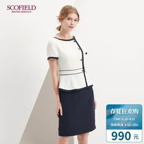 SCOFIELD womens summer workplace hit color stitching short sleeve a word dress SFOW82414Q