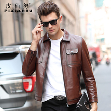 New imported calf leather jacket, genuine leather jacket, men's Lapel fashion, recreational jacket, autumn