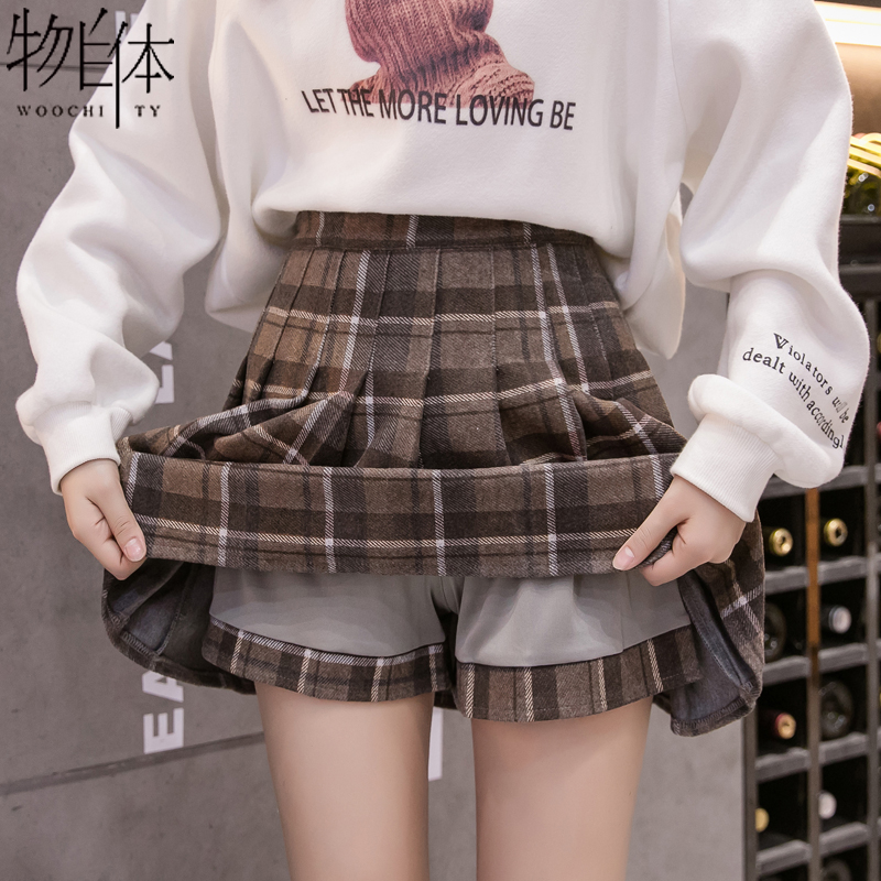 Plaid pleated skirt short skirt autumn and winter skirt women 2020 new fashion a-line skirt winter with sweater