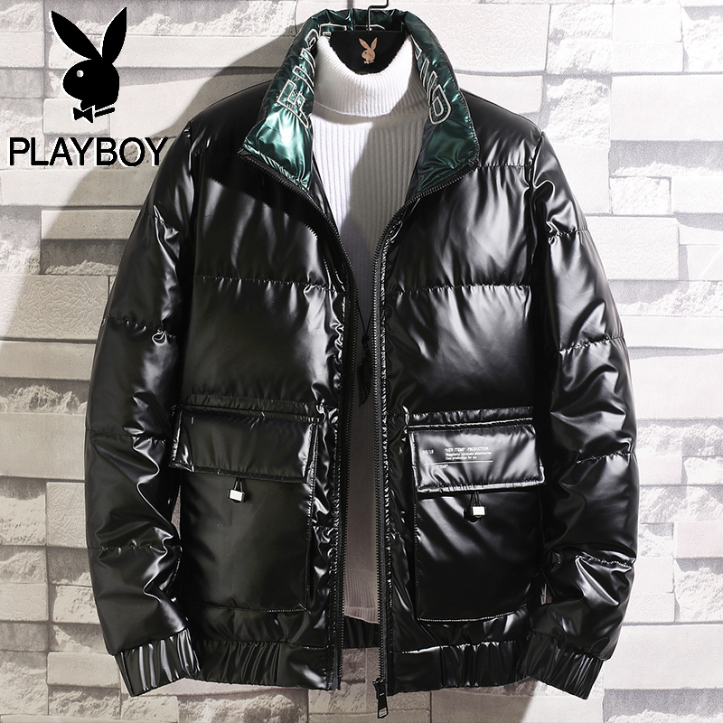 Playboy 2020 winter new light and thin short shiny down jacket men's winter brand authentic jacket men