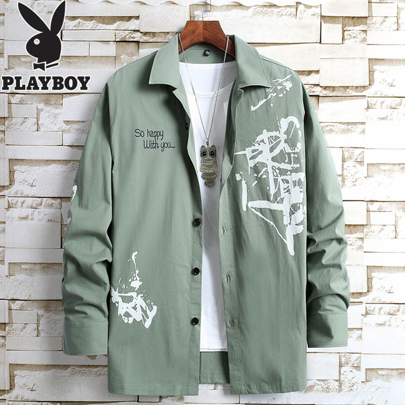 Playboy three-quarter sleeve shirt men's trend Korean version of long-sleeved loose 2020 short-sleeved tooling shirt men's autumn
