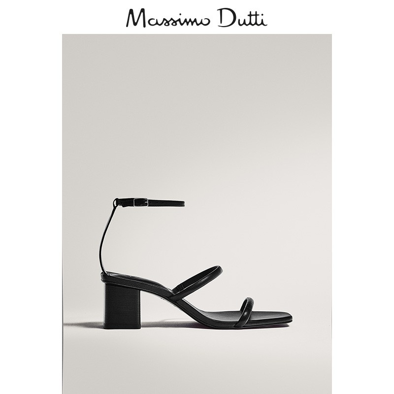 Mid season discount Massimo dutti women's shoes 2020 spring double strap high-heeled sandals extremely simple wind thick heeled sandals 11614550800