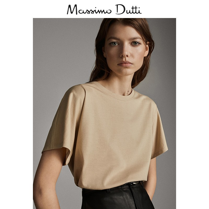 Massimo dutti women's plain cotton T-shirt 06812902711