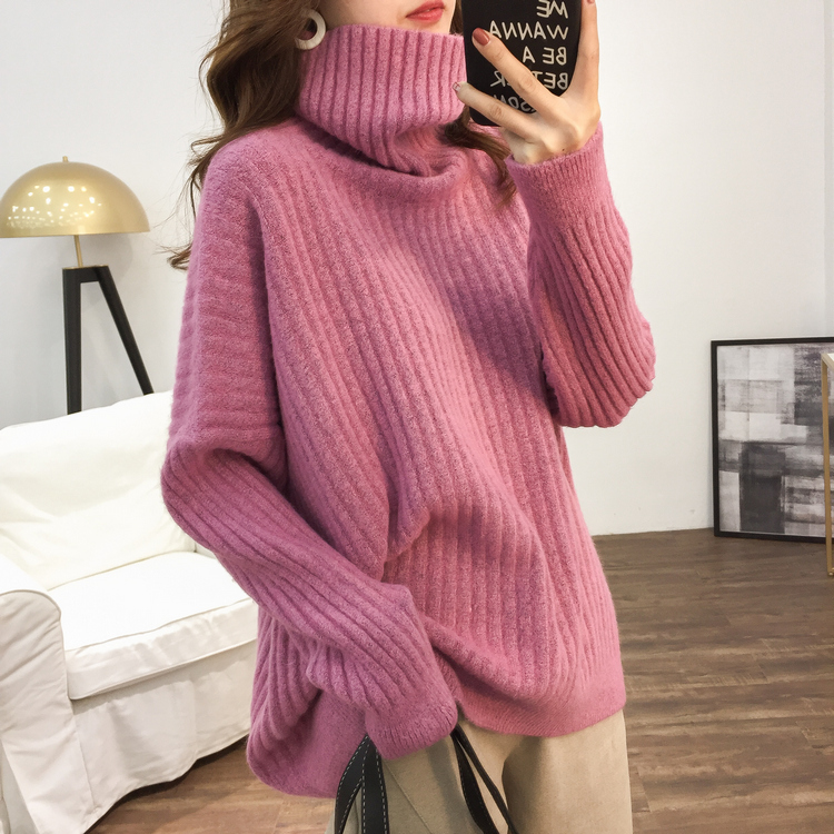 High-necked head sweater female winter warm Korean version of loose leisure lazy wind a hundred show thin bottom knitted top