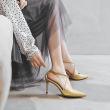 Baotou sandals women's fine heels summer 2019 new Baitao fairy wind pointed single shoes with high heels