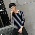 Fall Teenage Men's Korean Slim Slim Men's Long Sleeve T-Shirt Boys Student Round Collar Floral Cotton Top