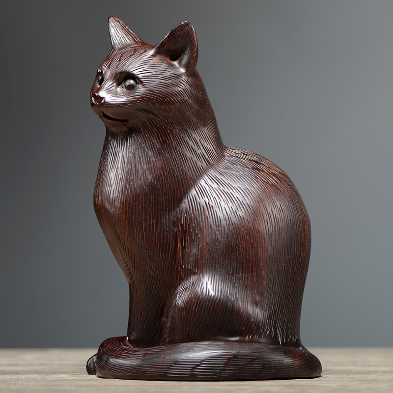 Ebony wood carved cat ornaments kitten decoration supplies cute creative animal carving living room home decoration craft gift decoration