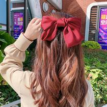 Корейская большая заколка для волос с бантом верхний зажим для волос Украшения для волос красный головной убор для девочек негабаритные сетки красный INS веревка для головы