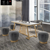 Office coffee table new Chinese solid wood Kung Fu rectangular tea table modern simple iron tea table and chair combination
