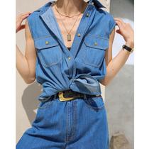 Three vintage denim blue sleeveless vest top small waistcoat Denim vintage frock vest summer slim
