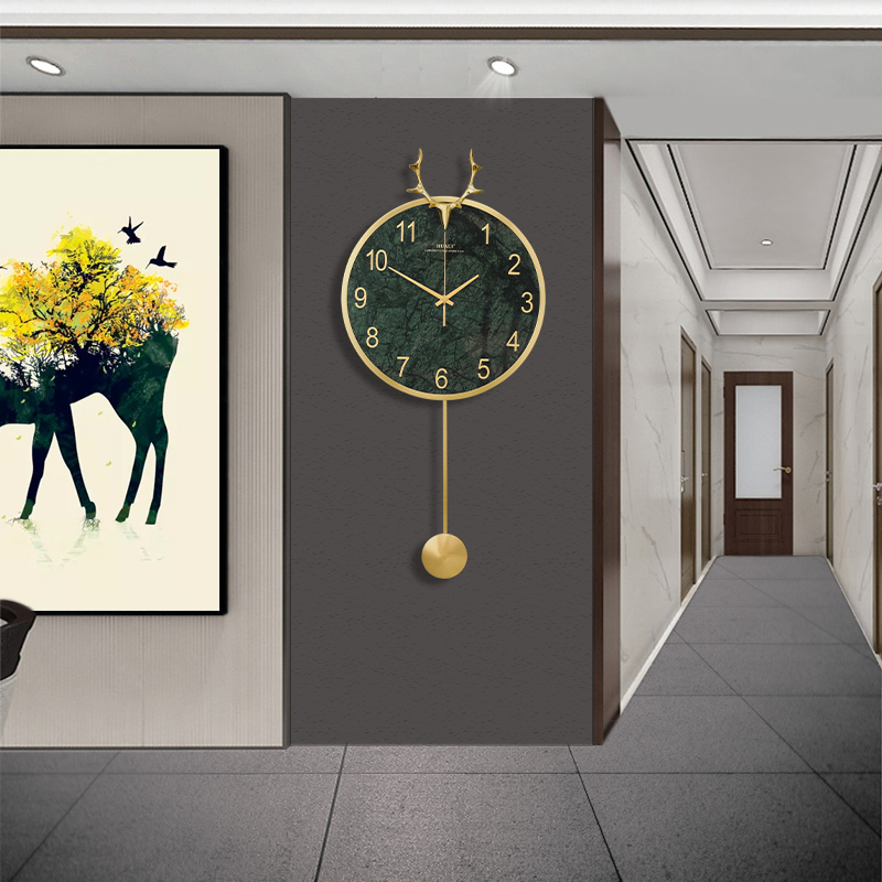 Nordic deer head clock wall clock living room home stylish light luxury wall modern net red light luxury extremely simple and free of punching holes