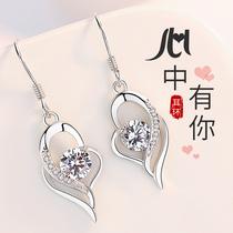 999 sterling silver earrings womens summer drop earrings earrings 2021 new trend stud earrings Tanabata Valentines Day gift to girlfriend
