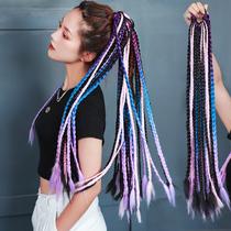 Dirty braided wig Ponytail color gradient false braids Female twist braids Hip-hop Hip-hop Europe and the United States Dirty braids tide braids