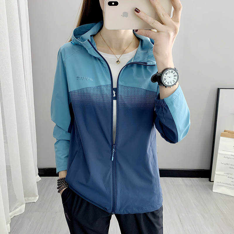 Spring and summer ice silk sun protection womens thin outdoor ultraviolet jacket breathable elastic sunscreen sports skin clothing