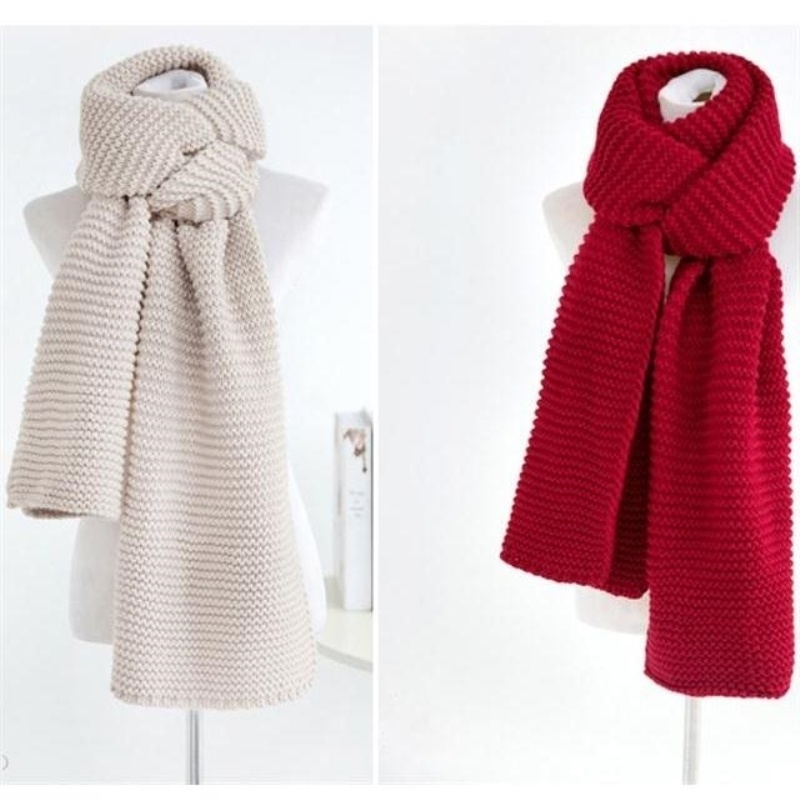 Hair scarf female autumn and winter Korean version of the tide thickened to keep warm solid color knitted students neck long version of the couple scarf