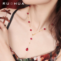 Joao Jewel Samantha Star Ruby Necklace Female Natural Yellow 18K Gold Colored Gem Collar Chain Custom
