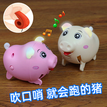 Childrens toys can hear blowing will run voice control crawling dance pig shake sound web celebrity whistle pig baby the same style