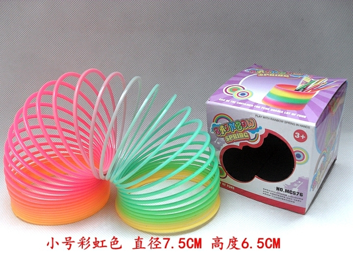 Children's Magic Show Colorful Luminescent Rainbow Ring Stretching Elastic Ring Plastic Spring Toy L