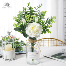 Imitation flower bouquet artificial flower living room dining table plastic flower decoration small ornament silk flower rose suit dry flower decoration flower