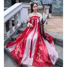Dragon Mother's Night String Song in Hanfu China Wind Chest-length Dress Summer Immortality Elegant Ancient Heavy Work Embroidery 6-meter pendulum