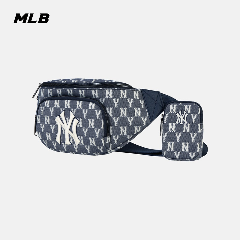 MLB official mens and womens waist bag back old flower stiletto bag NY chest bag denim wind sports casual tide spring summer BGCA