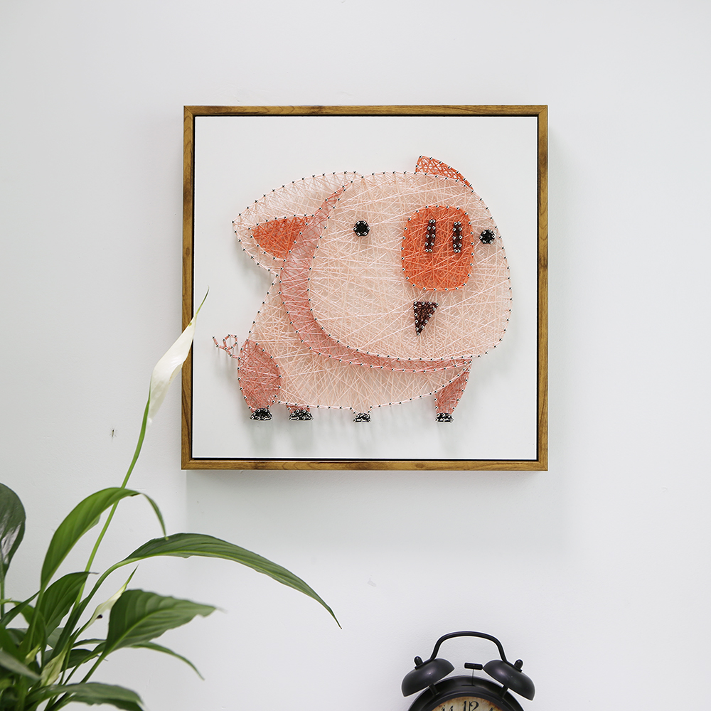 String silk painting DIY handmade material package animal pig creative decoration nail coiling drawing Nordic yarn