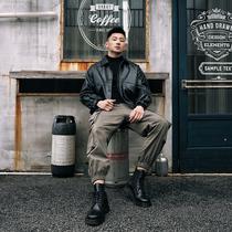 APEZ ancient youth soft leather mens loose Korean version of the flip-fring locomotive suit tide brand bomber leather jacket jacket tide