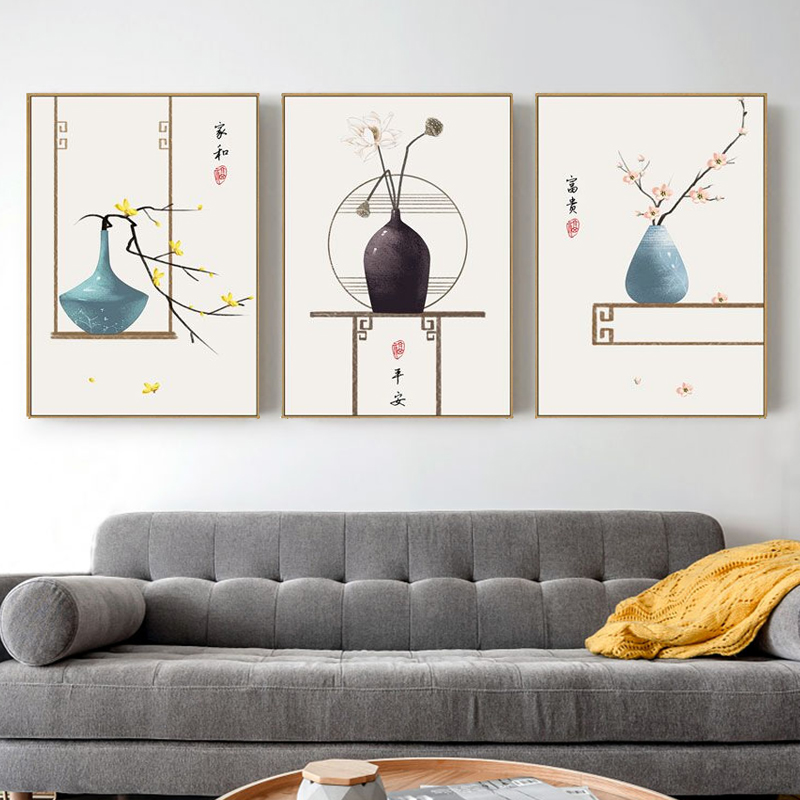 Triple combination of Su Ya Zen Chinese style murals, porch restaurant bedroom paintings, hanging paintings, new Chinese style living room decorative paintings