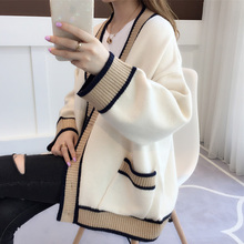 Medium length V collar female autumn dress lazy wind 2018 new loose Korean version autumn winter sweater female knitted cardigan coat
