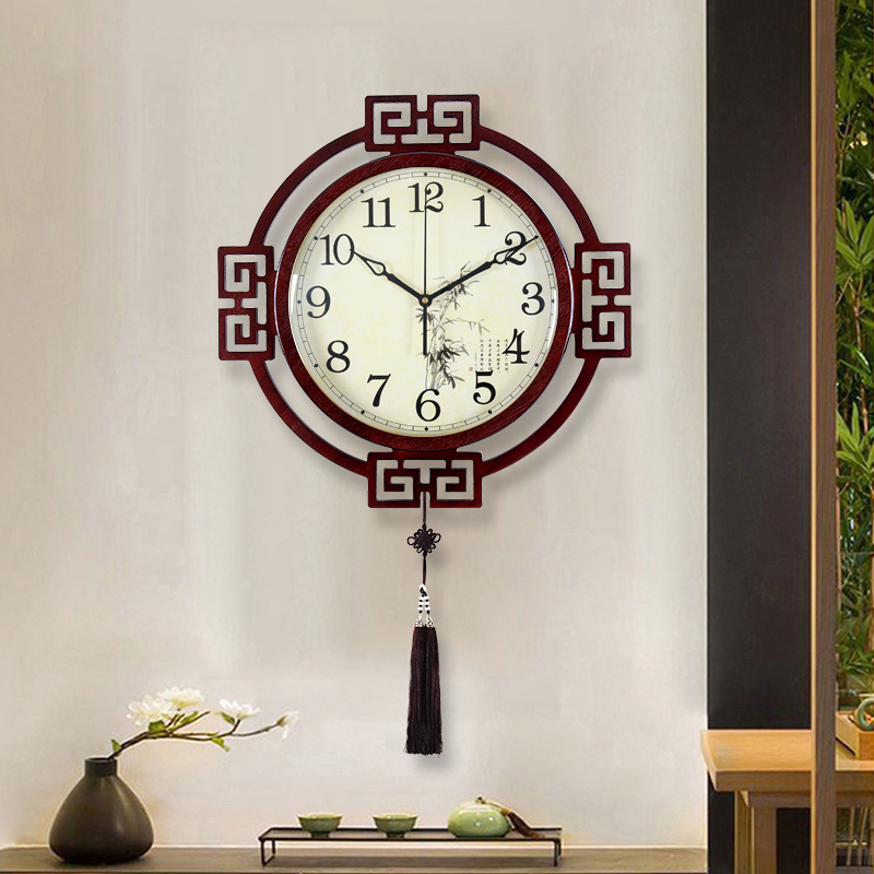 New Chinese wall clock living room wall watch fashion Chinese wind creative clock錶 home atmosphere network red quartz wall clock