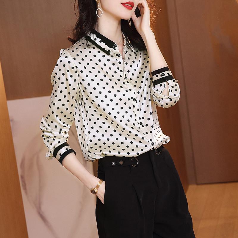 Silk blouse women mulberry silk chiffon long-sleeved shirt women design sense niche wild fashion wave top
